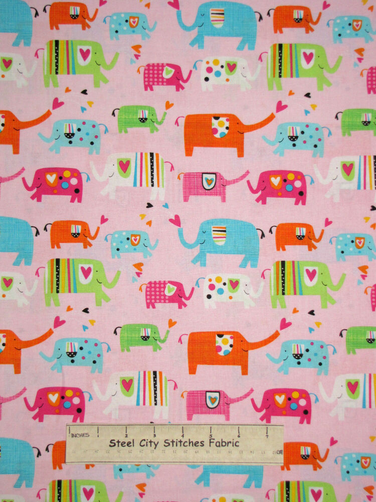 Timeless treasures elephant fabric 100 cotton by the yard for Purchase fabric by the yard