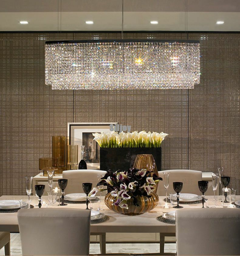 K9 crystal ceiling chandelier light modern dining room for Modern crystal chandelier for dining room