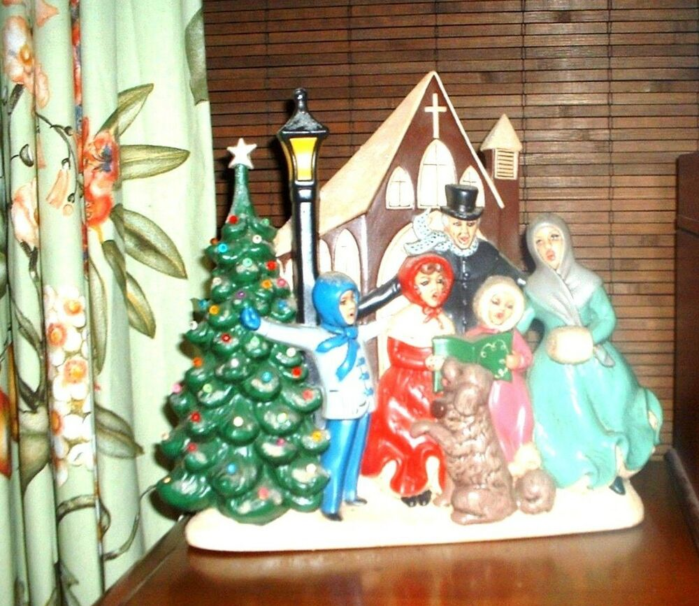 Singing Carolers Candleholders Figurines Vintage By: VINTAGE CERAMIC ATLANTIC MOLD A414 CHRISTMAS TREE CAROLERS