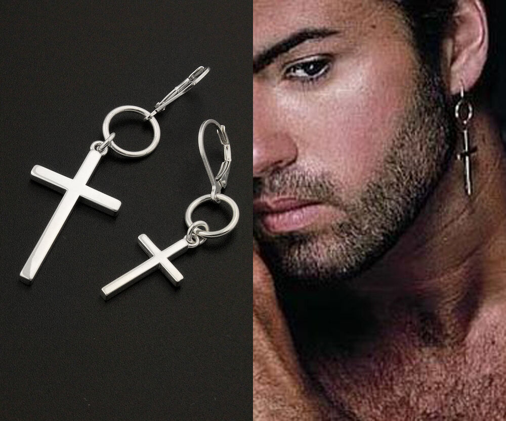 mens hanging earrings george michael cross earring sterling silver unisex 6754