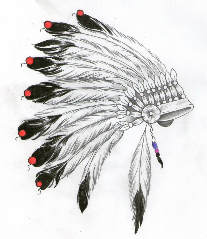Native Indian American feather STREET ART PRINT stencil ...