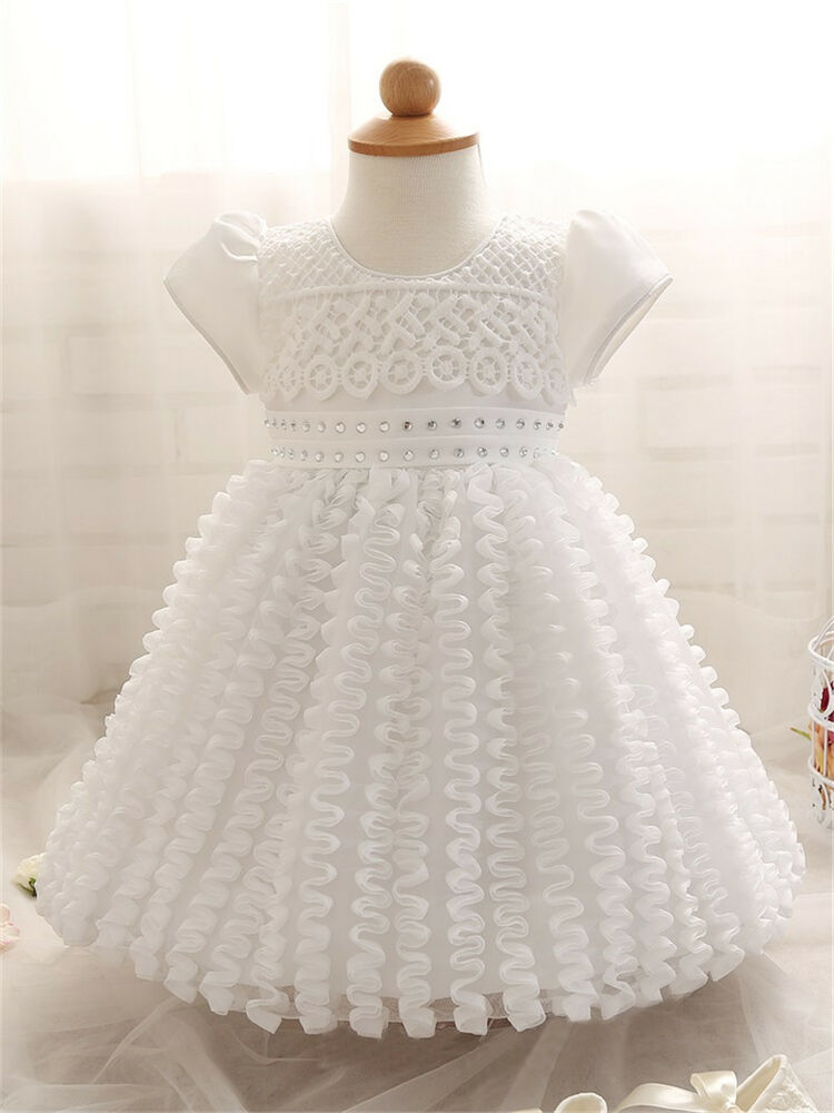white christening baptism girl gown formal dress wedding baby shower
