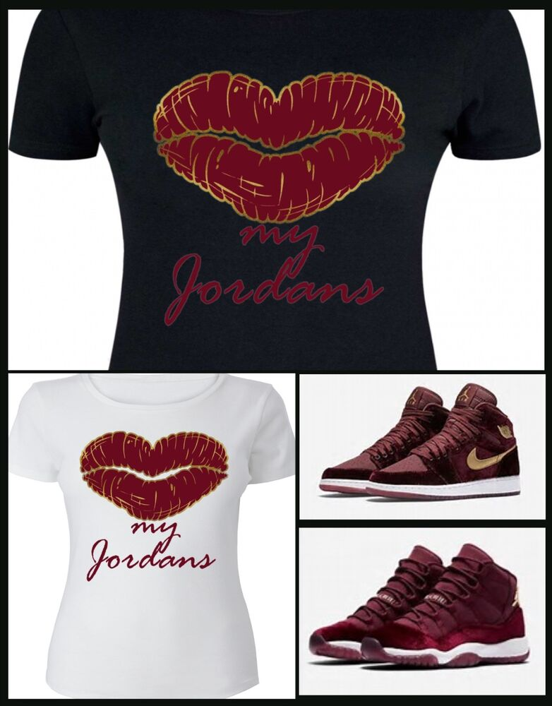 Ladies womens tee shirt to match the nike jordan 1 11 for Women s broadcloth shirts