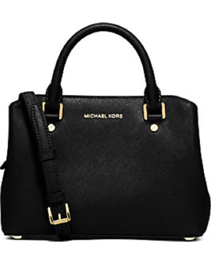 new michael kors small savannah gold black saffiano leather satchel bag 298 ebay. Black Bedroom Furniture Sets. Home Design Ideas