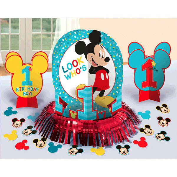 Baby mickey mouse 1st birthday party table decoration kit for Baby birthday decoration images