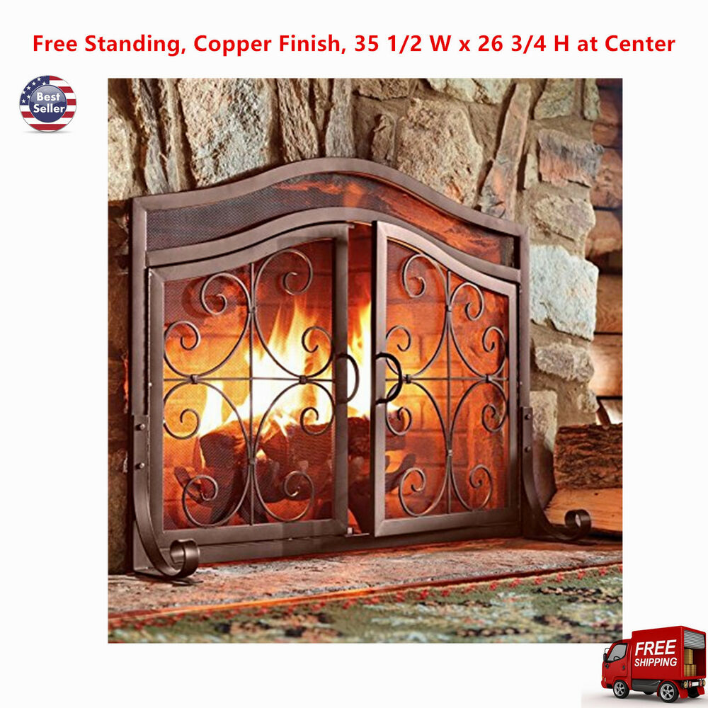 plow hearth crest small fireplace screen with doors