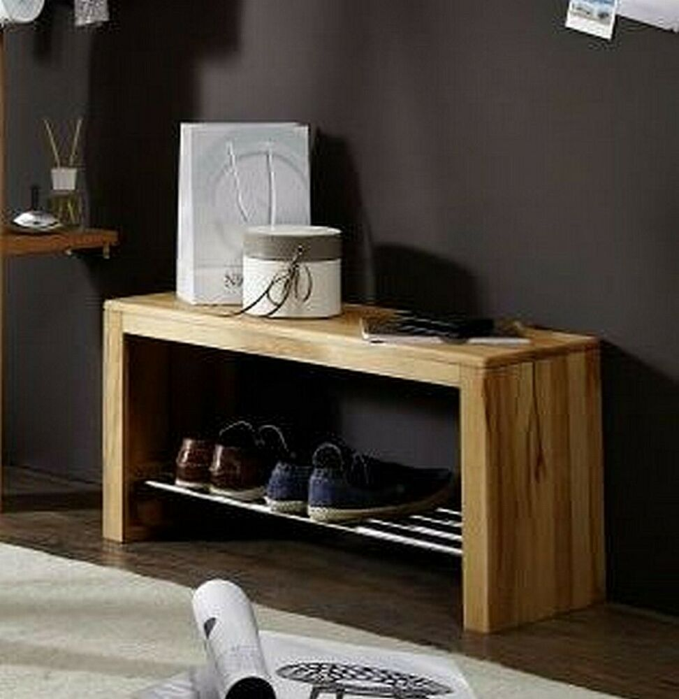 massivholz sitzbank 100cm kernbuche ge lt holz schuhbank flur bank schuhregal ebay. Black Bedroom Furniture Sets. Home Design Ideas