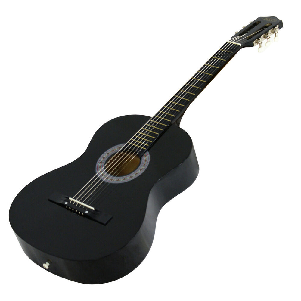 new beginners acoustic guitar with guitar case strap tuner and pick black ebay. Black Bedroom Furniture Sets. Home Design Ideas