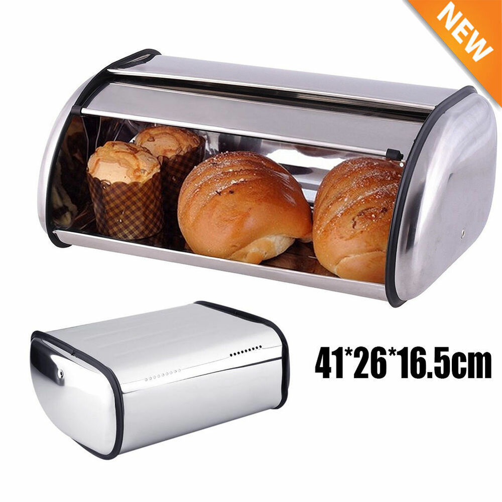 Bread Bin Box Storage Keep Baked Container Stainless Steel