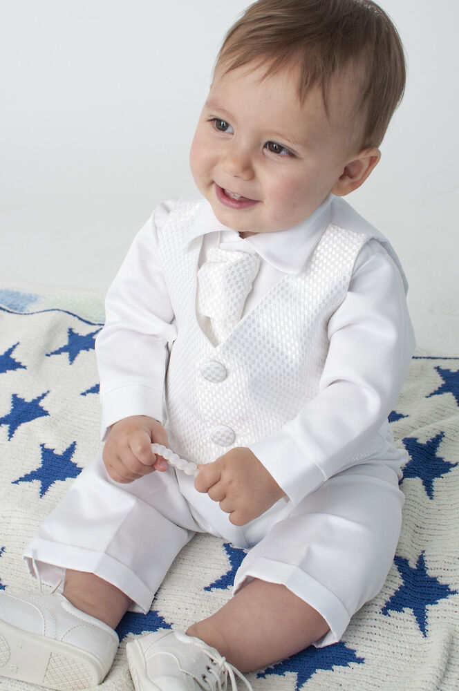baby boys 4 piece christening outfit christening suit blue white check ebay. Black Bedroom Furniture Sets. Home Design Ideas