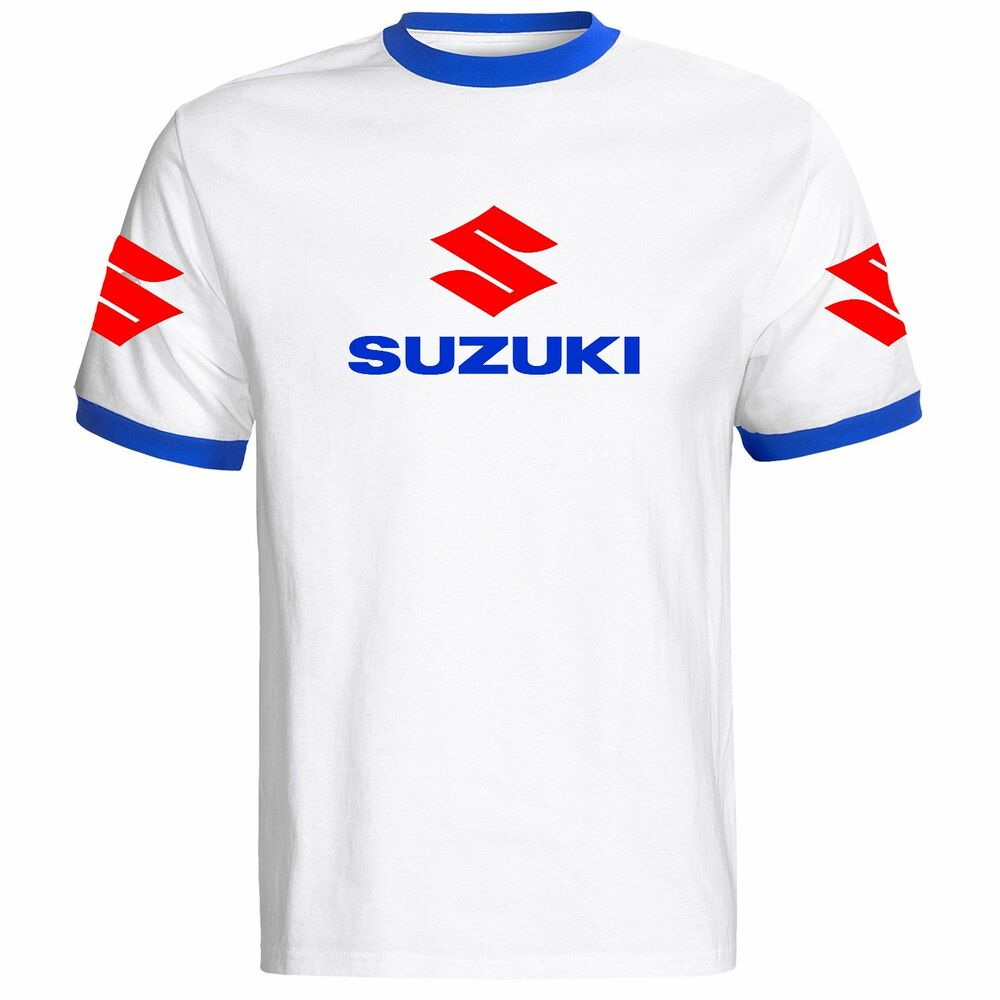 suzuki motorbike motorcycle t shirt white blue red mens. Black Bedroom Furniture Sets. Home Design Ideas