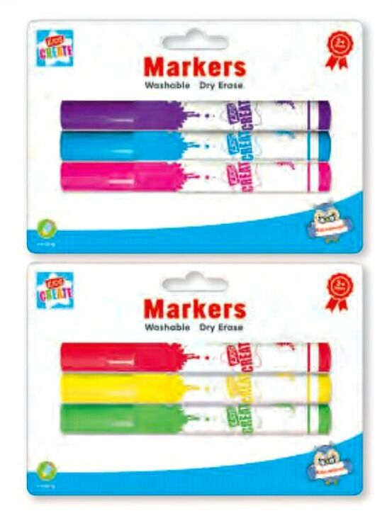3 kids MARKERS White Board dry erase washable Wipe Clean
