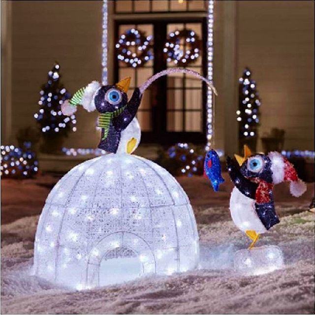 "48"" LED Lighted Igloo With Fishing Penguins Sculpture"