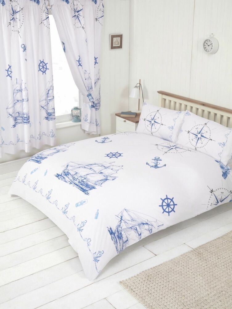 Nautical Sea Ships Boat Anchor Compass Duvet Cover Bedding