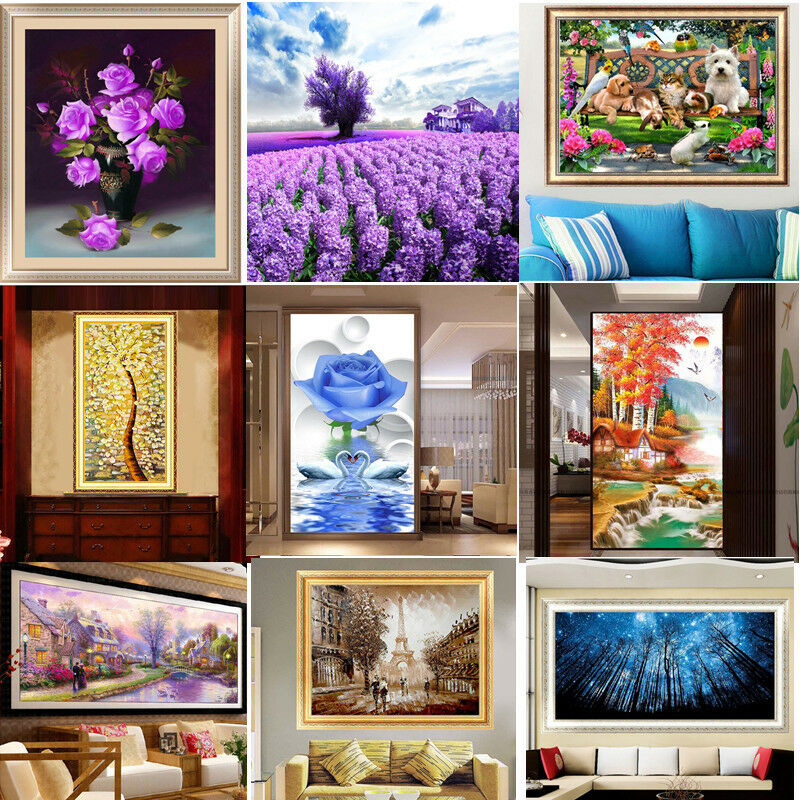 Vogue diy 5d round diamond embroidery painting cross for Home interiors and gifts framed art