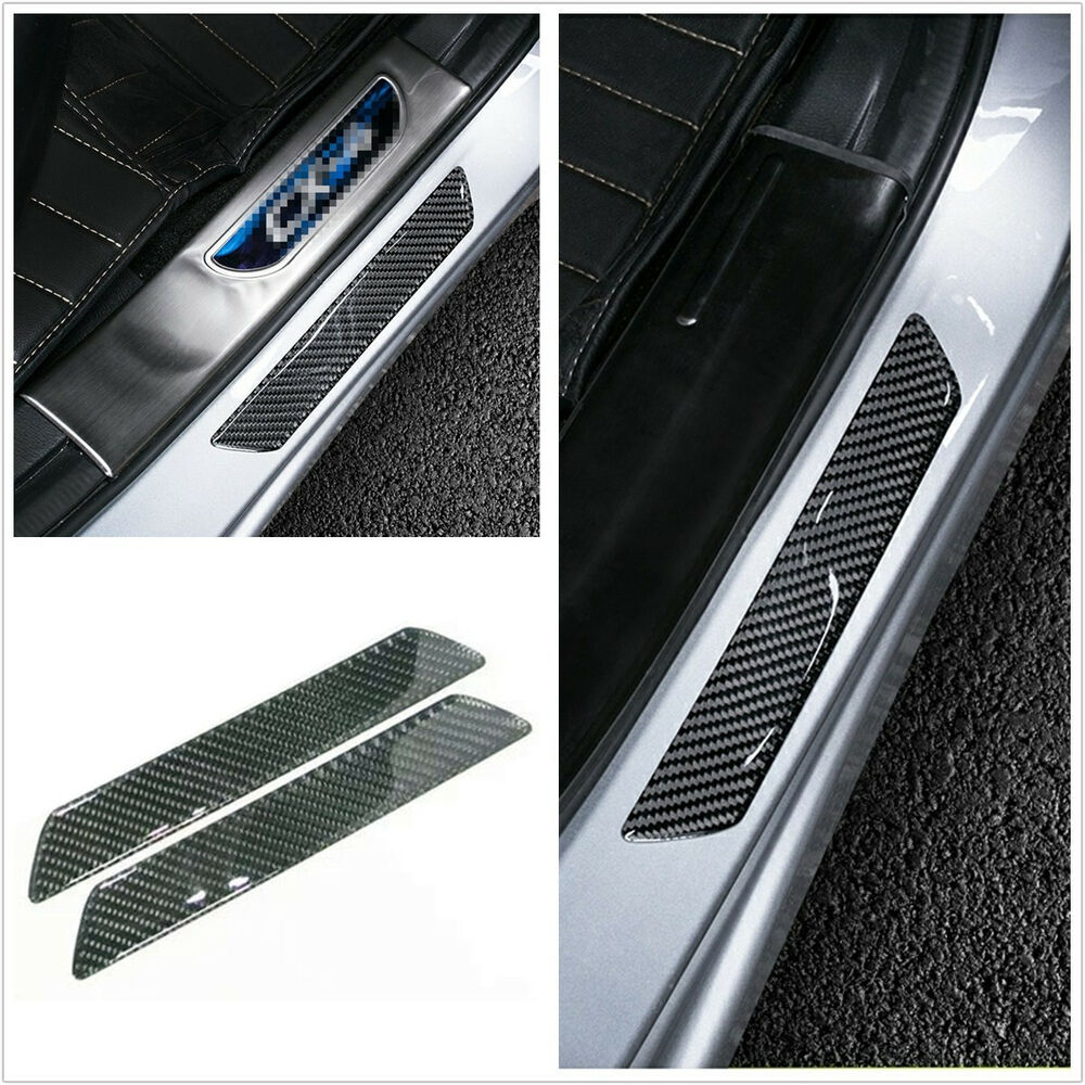 2x carbon fiber car scuff plate rear door sill cover panel step protector guard ebay. Black Bedroom Furniture Sets. Home Design Ideas