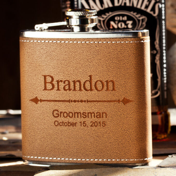 Details about Personalized Groomsman Flask, Custom Engraved Wedding Gift, Bachelor Party Favor