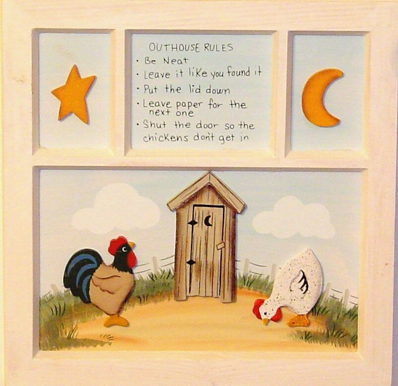 3d primitive outhouse rules bathroom window rooster hen ebay for Bathroom designs 8x7
