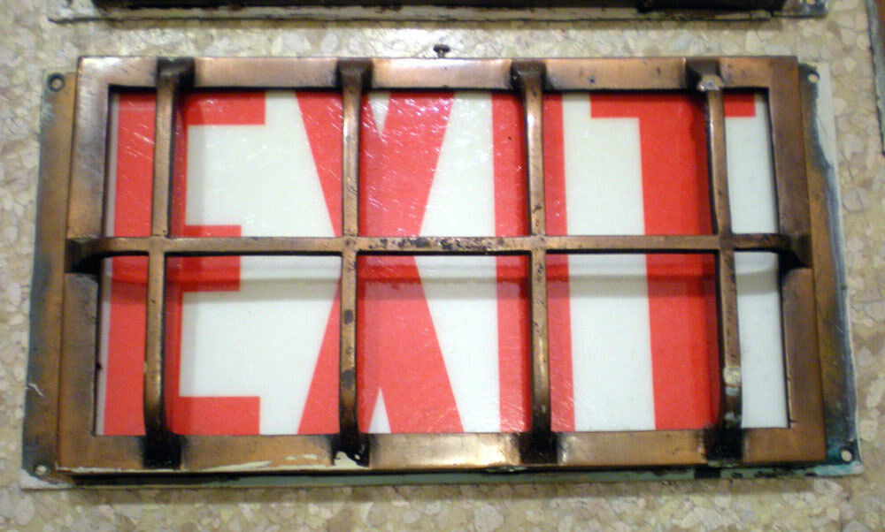 Sale Rare 1920s Antique Wall Mounted Caged Exit Sign Light