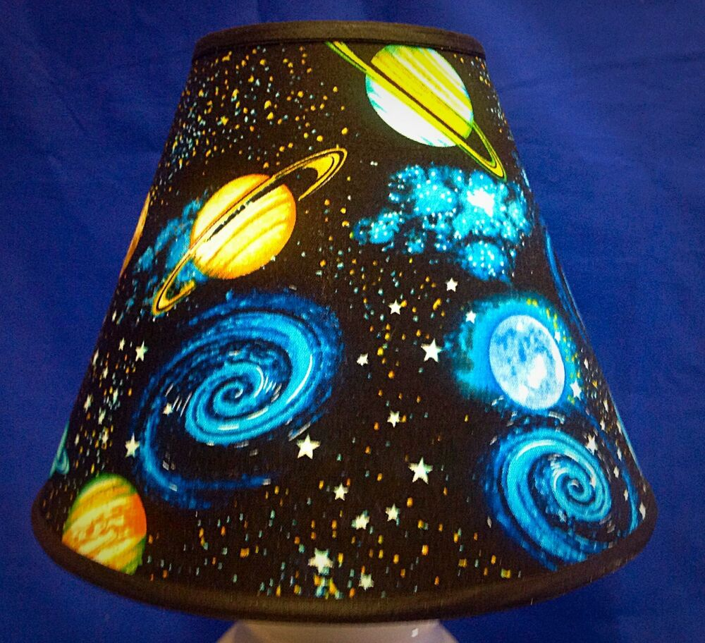 Planets On Black Handmade Lampshade Space Lamp Shade Ebay