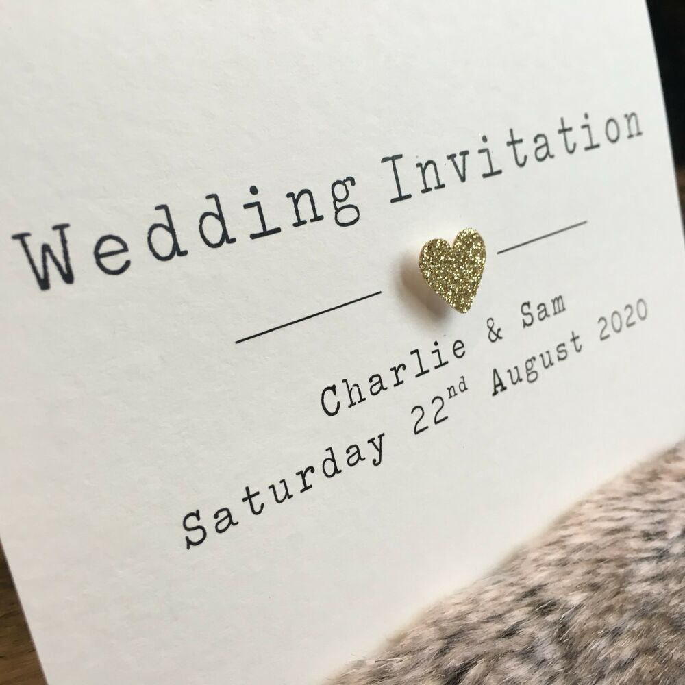 Heart Images For Wedding Invitations: Glitter Heart Personalised Day Or Evening Handmade Wedding