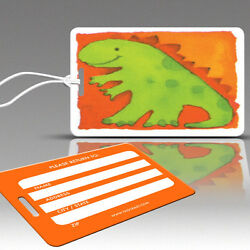 TagCrazy Luggage Tags For Kids, Dinosaur Design, Durable Plastic Loops- 1 Pack