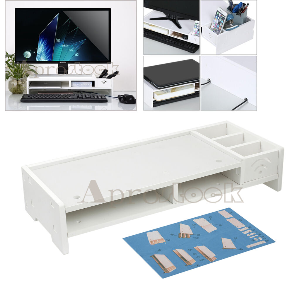 lcd tv laptop computer monitor screen stand riser white. Black Bedroom Furniture Sets. Home Design Ideas