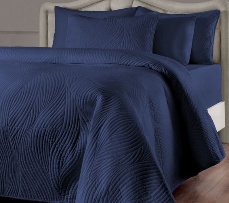 Navy Blue Quilt Set Full Queen Size 3 Pc Quilted