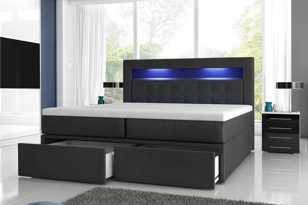 boxspringbett milano2 mit zwei bettkasten und led beleuchtung wei oder schwarz ebay. Black Bedroom Furniture Sets. Home Design Ideas