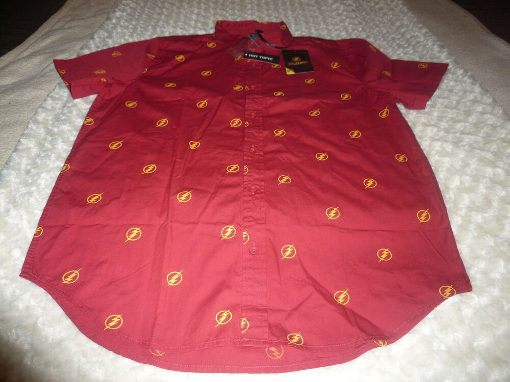 Nwt Exclusive Hot Topic Collection The Flash Button Down Shirt