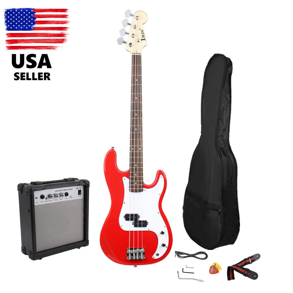 red electric bass guitar includes strap guitar case amp cord 10w amplifier ebay. Black Bedroom Furniture Sets. Home Design Ideas