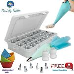 CAKE DECORATING 50 PIECE SET: 30 Stainless Steel Piping / Icing Nozzles Tips ...