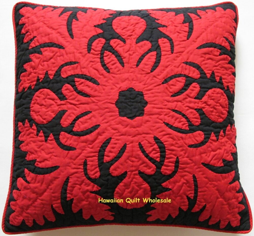 Quilting Patterns For Pillow Covers : 2 Hawaiian quilt handmade cushions hand quilted/applique throw pillow covers 18