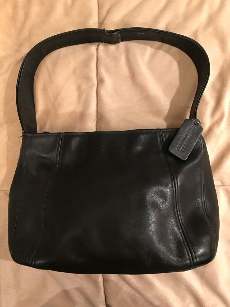 Vintage Coach 4186 Black Soft Leather Handbag Bag Purse