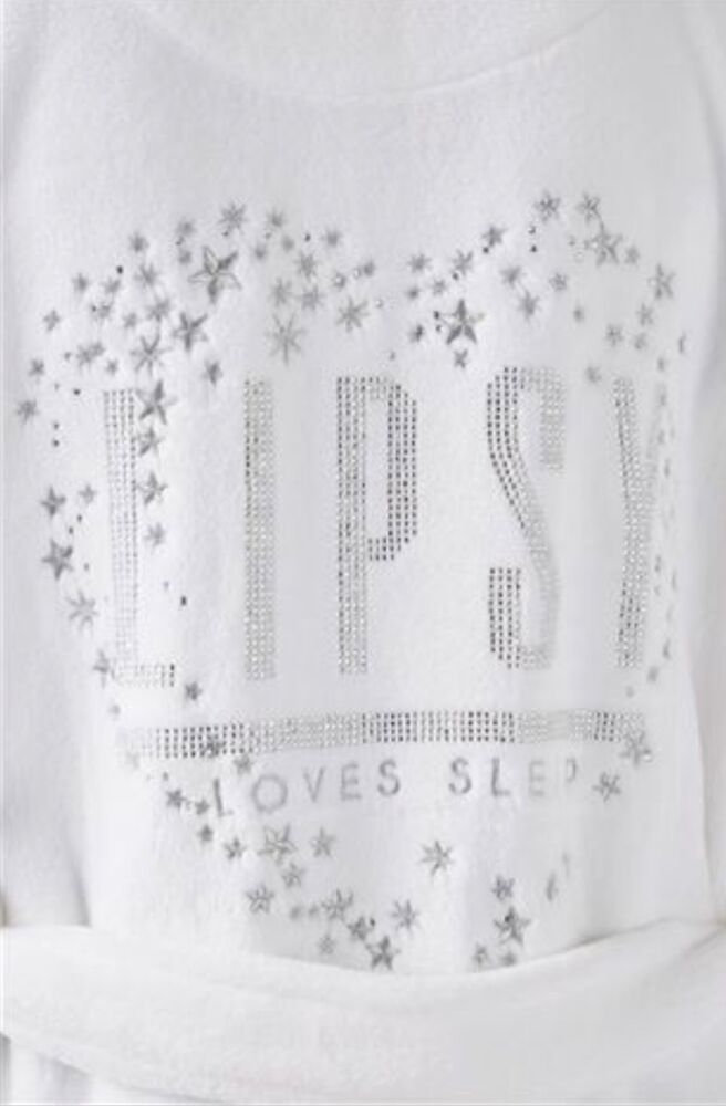 LIPSY LADIES WHITE DIAMANTÉ  LOVES SLEEP  SUPERSOFT ROBE DRESSING GOWN UK  8-14  4a3cac6aa