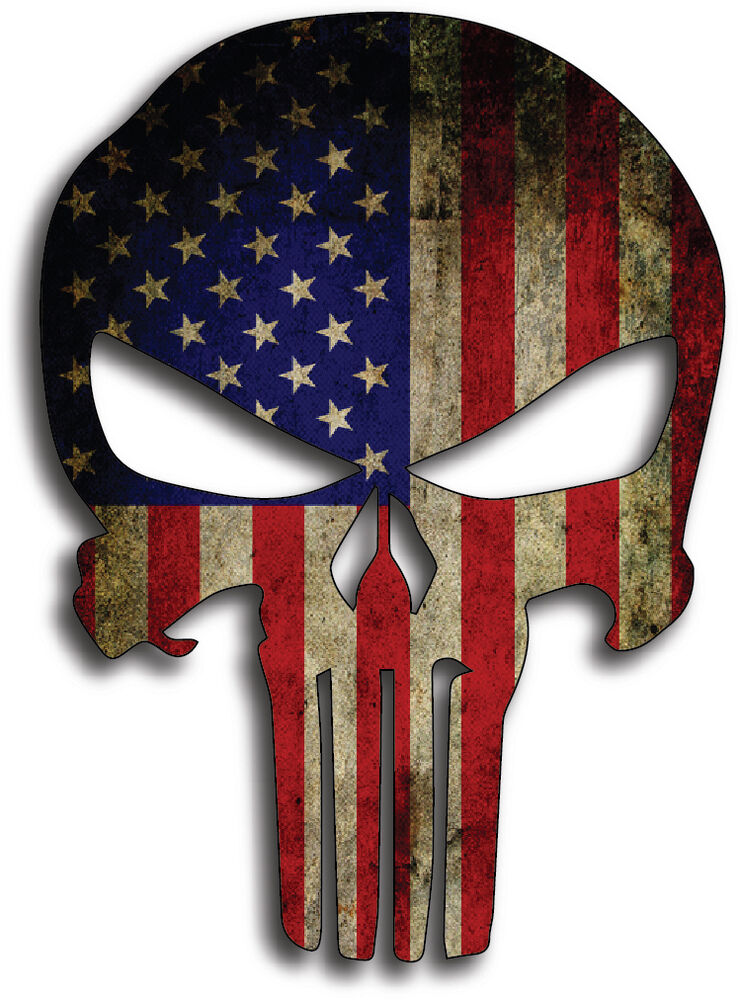 Punisher American Usa Sniper Color Flag Skull Die Cut