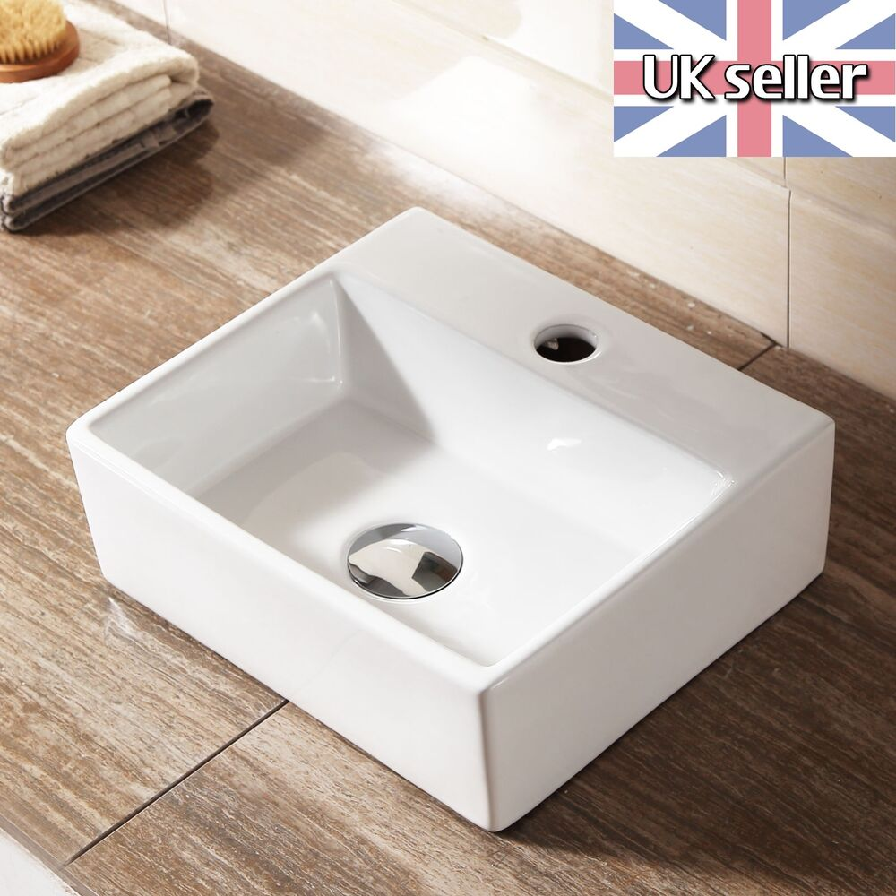 Square small ceramic cloakroom basin sink wall hung or counter top 330x290 ebay