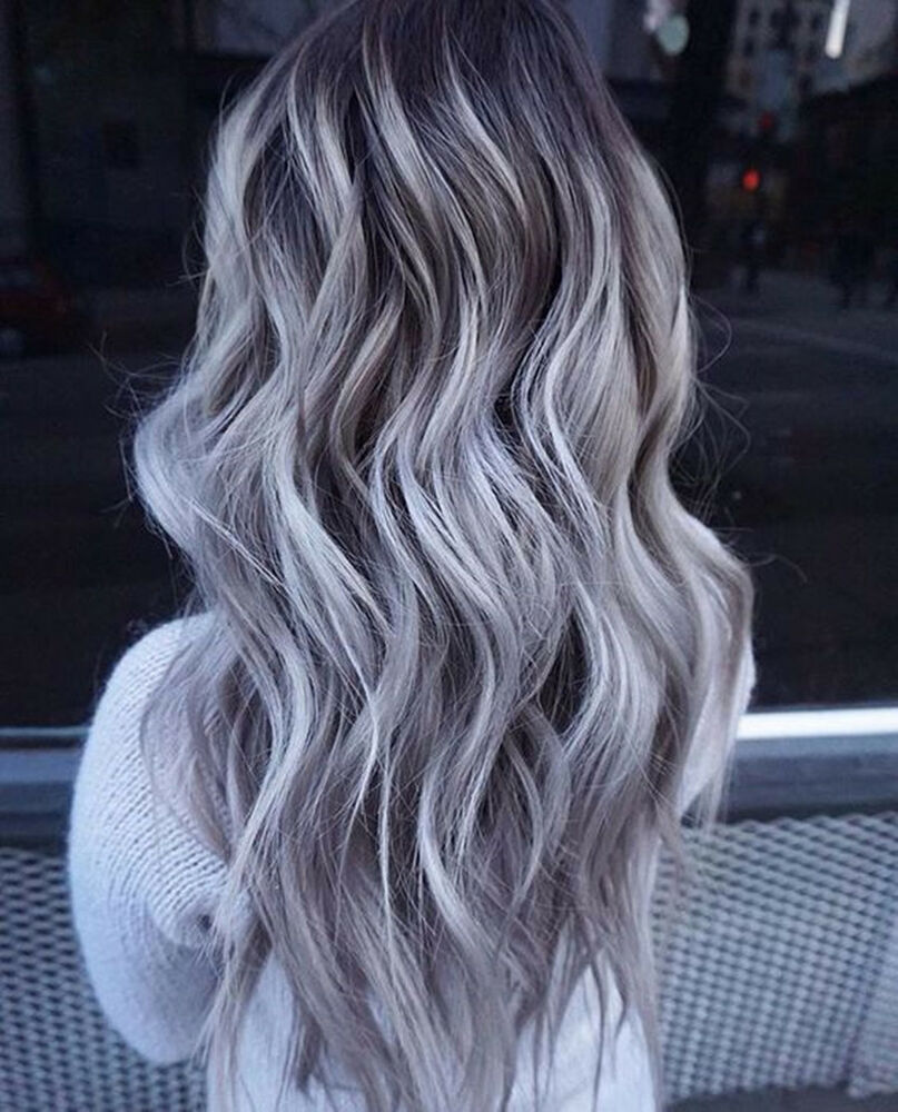 100% European Real Human Hair Wigs Long Ombre Grey Lace