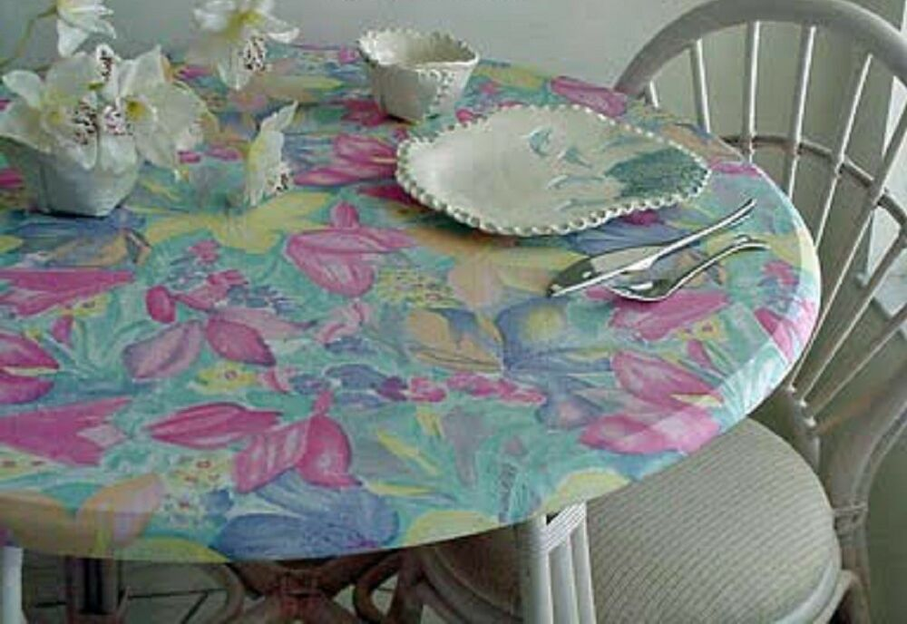 Elastic Edge Round Fitted Vinyl Tablecloth 36 Quot To 48