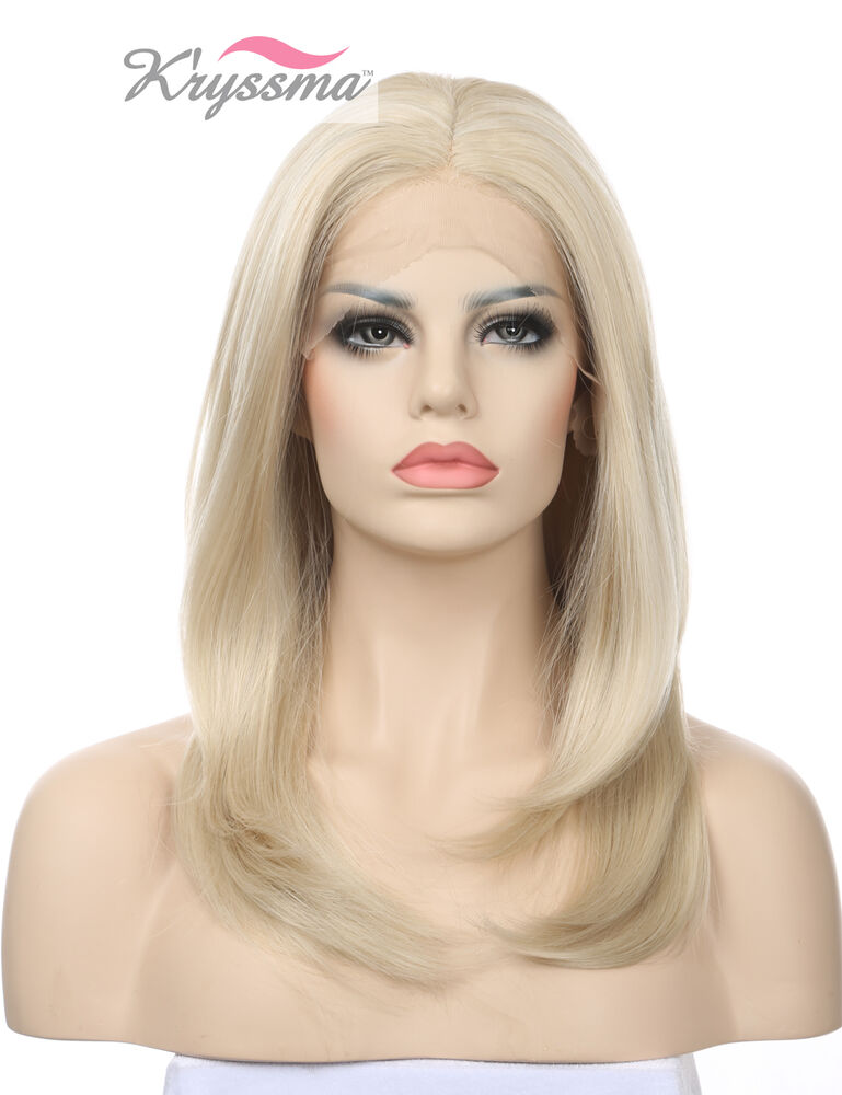 Short Natural Straight Synthetic Hair Lace Front Wigs Blonde Glueless ...
