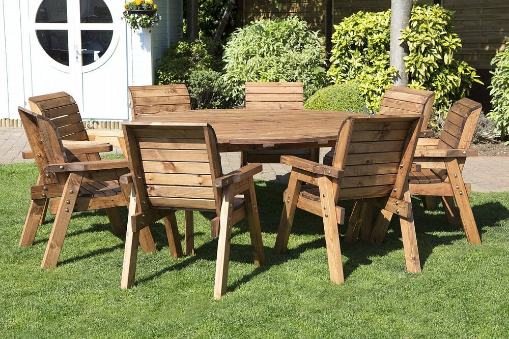 Hgg Round Wooden Garden Table And 8 Chairs Dining Set