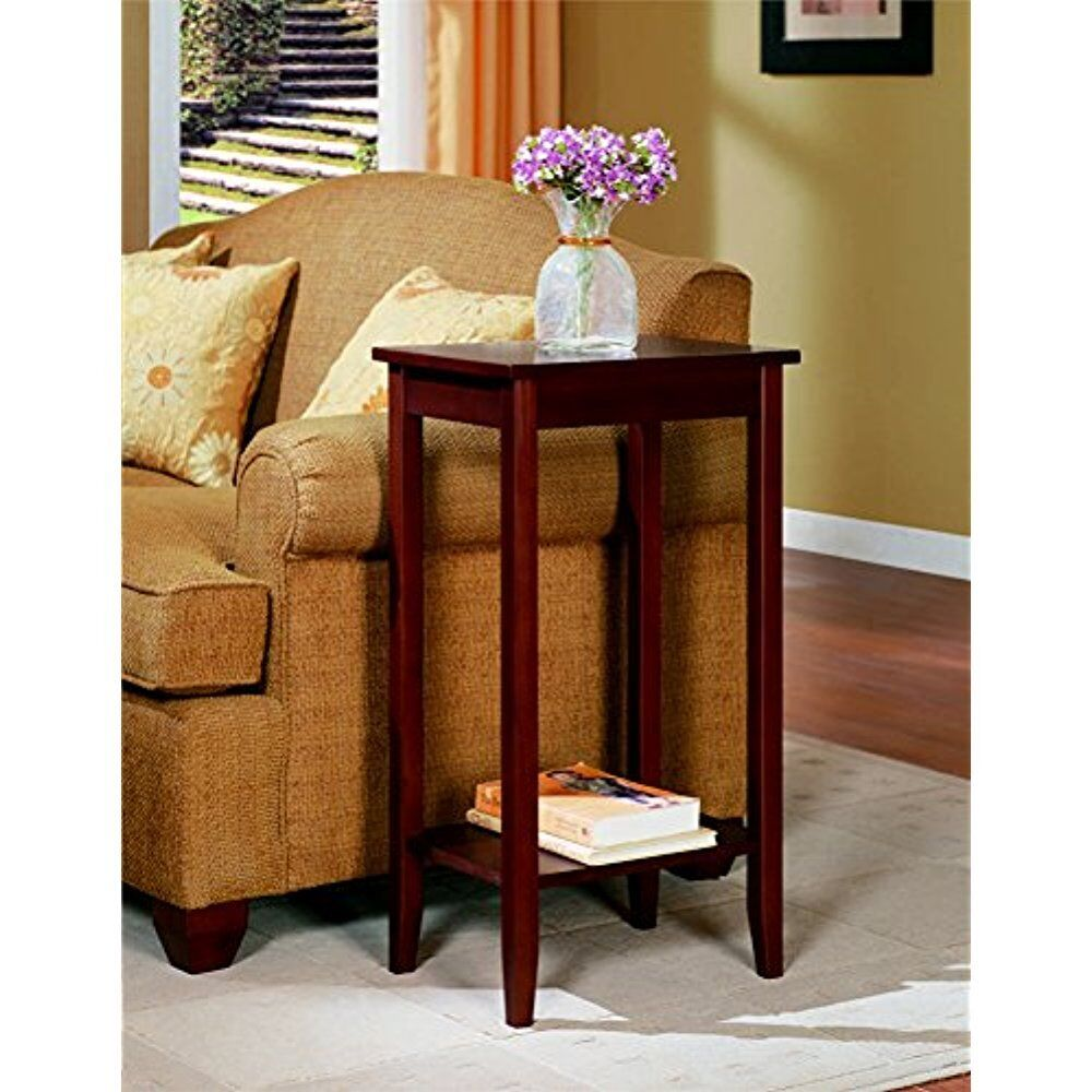 Small end tables dhp wood tall night stand table lamp for Small tall end table