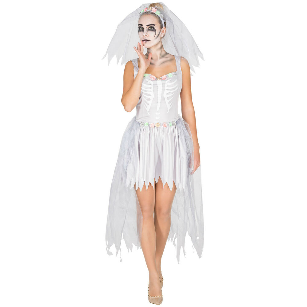 sexy brautkleid skelett kost m karneval fasching halloween damen kleid geist ebay. Black Bedroom Furniture Sets. Home Design Ideas