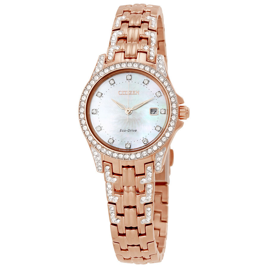 Citizen silhouette crystal eco drive ladies watch ew1228 53d ebay for Crystal ladies watch