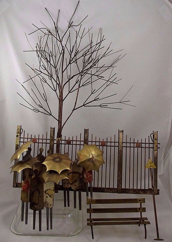 Metal Umbrella Wall Decor : Vtg mid century signed c jere metal wall hanging art