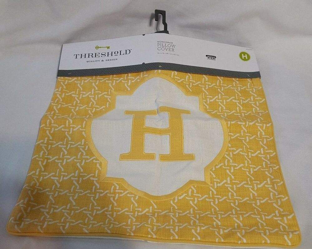 Monogram Throw Pillow Cover Target : New Yellow Ivory Target Threshold Pillow Cover Slipcover Monogram Letter H 18X18 eBay
