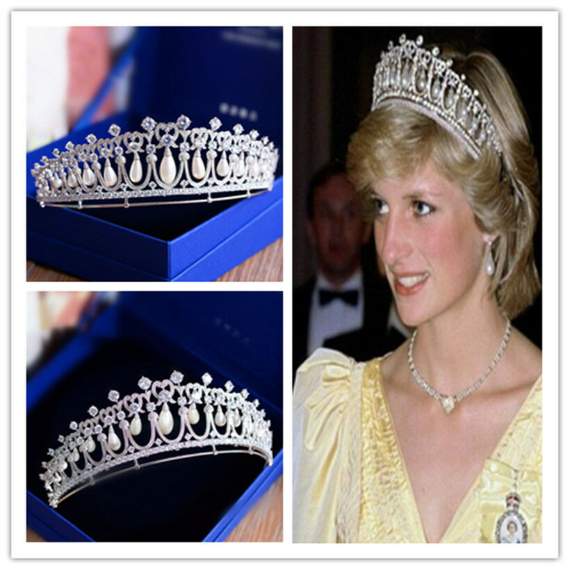 Princess Diana S Wedding Jewelry: Diana Crown Pageant Tiara Wedding Bridal Freshwater Pearl