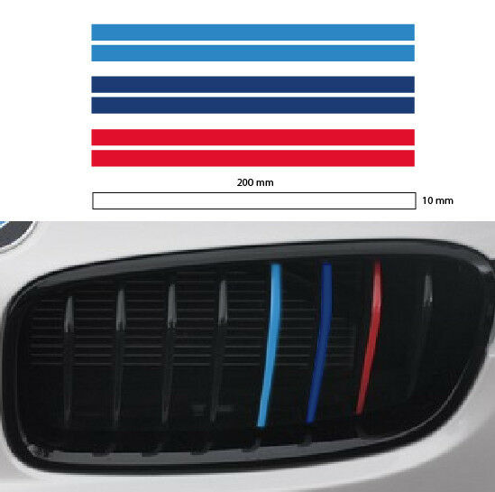 m grill stripe 10mm bmw sport decal sticker vinyl performance 3 color 2set ebay. Black Bedroom Furniture Sets. Home Design Ideas