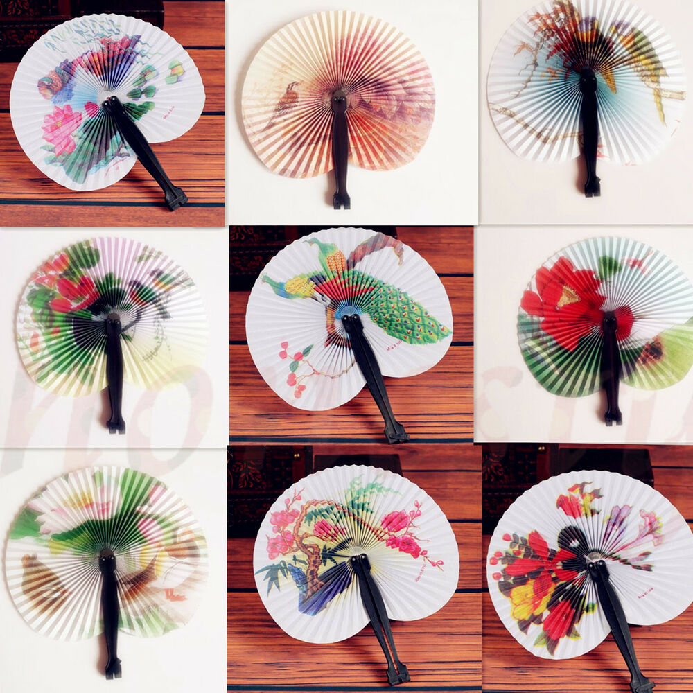 Chinese Paper Folding Hand Fan Oriental Floral Fancy Party ... - photo#48