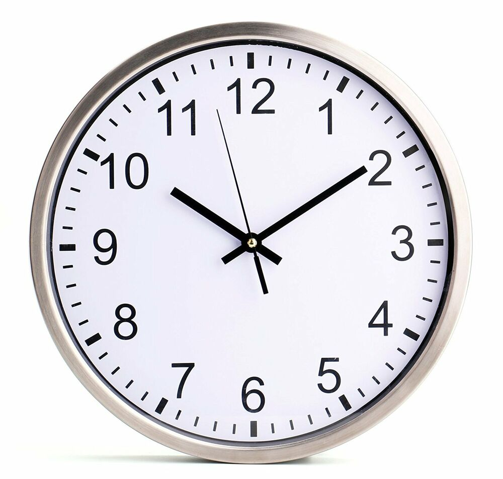 Bekith large indoor outdoor decorative silver wall clock for Silver wall clocks modern